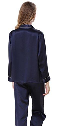 CLC Damen 100% Maulbeerseide Schlafanzug Set Klassische Seide Pyjamas Dunkelblau