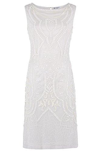 Dynasty Donna Corto Vestito elata Bianco non scialle stile 1072655 bianco 36