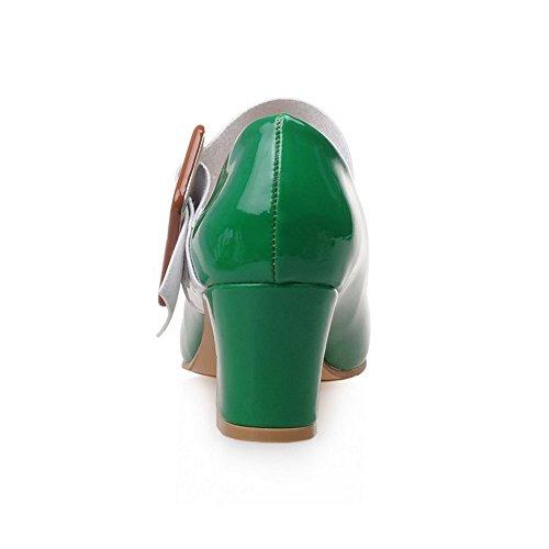 COOLCEPT Damen Mode Mary Janes Pumps Geschlossene Blockabsatz Schuhe Grun