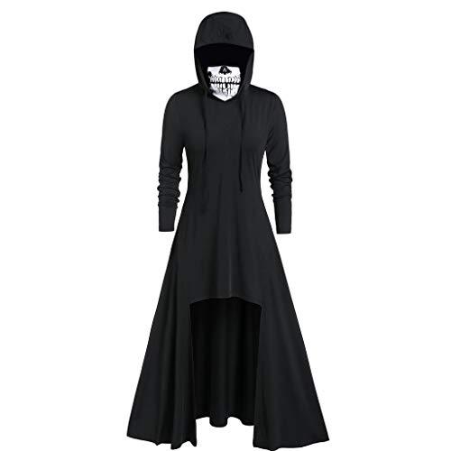 MOIKA Halloween Cosplay Kostüm Reine Farben Pullover Langarm Schädel Masken Hülsen-mit Kapuze BlusenKleid Damen (Für Halloween-kostüme Paare Lustige 2019)