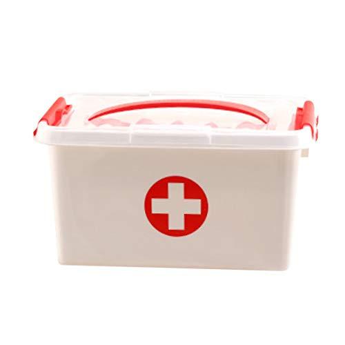 iVansa Medizinbox Tragbar - Plastik Erste Hilfe Box Aufbewahrungskasten Medizin Box mit Griff - Medikamenten Box Koffer Medikamentenkoffer - 30,5 x 20,5 x 16cm