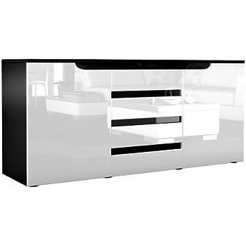 Sideboard weiß hochglanz mit holz  Sideboard Kommode Sylt, Korpus in Schwarz matt / Front in Weiß ...