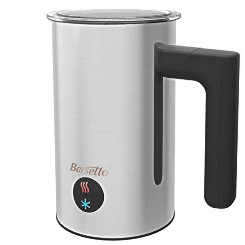 Barsetto Milchaufschäumer Elektrisch, Edelstahl, Milk Frother, Automatisch, Premium Milchschäumer, 300ml Große Kapazität, Warm und Kaltaufschäumen für Kaffee, Latte, Cappuccino (silber)