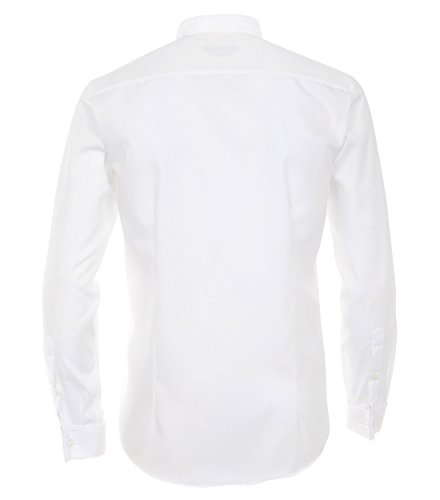 Michaelax-Fashion-Trade - Chemise casual - Uni - Col Cassé - Manches Longues - Homme White - Weiß (000)