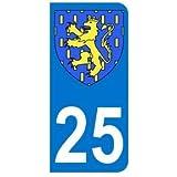 Autocollant 25 avec blason Franche-Comté plaque immatriculation Auto (9,8 x 4,5 cm)