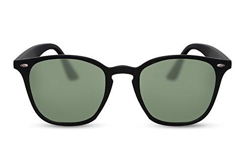 Cheapass Sonnenbrille Matt-Schwarz Grün Getönt-e Designer-Brille UV-400 Plastik Damen Herren