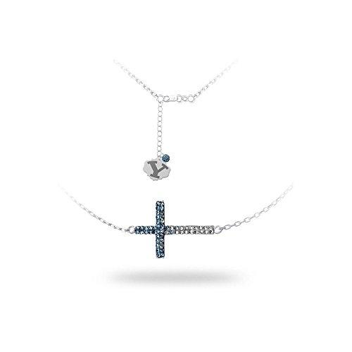 Sterling Silber rhodiniert Spirit Kreuz Halskette Brigham (Young Universität–46cm -