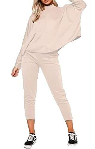 Hi Fashionz Damen Lange Fledermaus�rmel Oben und unten Lounge Wear Co Ord Set Anzug Stone X Large