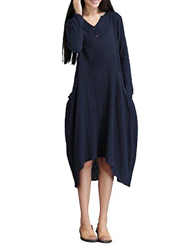 ZANZEA Vintage Femme Longue Tunique Robe de Soiree Casual Dress Manches Longue Coton Linge Longue Maxi Marine