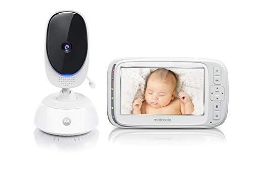 Motorola Baby Comfort C75 Video-Babyphone mit Schwenk- und Zoomfunktion, 5,0 Zoll Farbdisplay, Nachtsicht, 2-Wege-Audio und Temperatursensor, 300m Reichweite, weiß