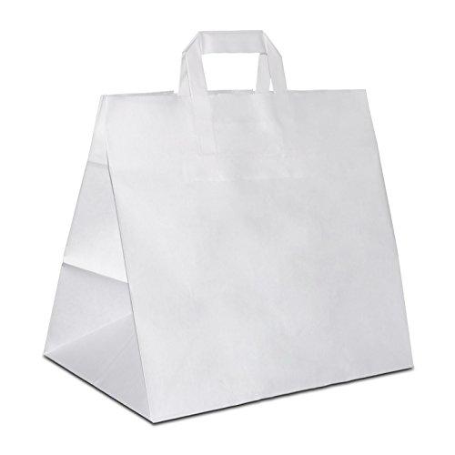 50 x Brötchentüte | Giveaway extra breiter Boden weiss 26+17x25 cm | stabile Konditortüten | Brottüten weiter Boden | Brotbeutel | HUTNER