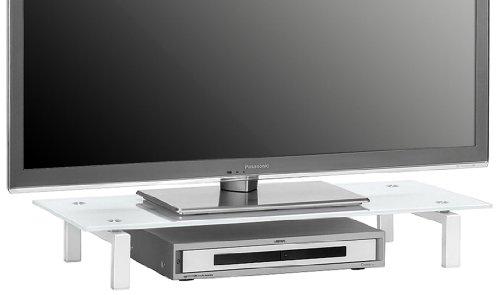 Möbel 1603 9476 TV-Board, Metall weiß - Weißglas, Abmessungen BxHxT: 82 x 12,5 x 35 cm