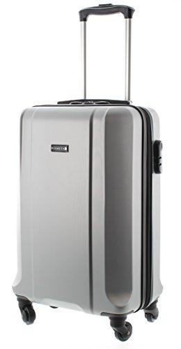 Pianeta / Boston Trolley valigia da viaggio bagaglio a mano valigia guscio rigido 100% ABS (M (55cm), argenteria)