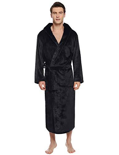 iClosam Herren Bademantel Nachthemd Flanell Winter Männer Langarm Zuhause Nachtwäsche Leicht Mantel Morgenmantel V Kragen mit Taschen, Kapuze und Bindegürtel für Spa Hotel Sauna