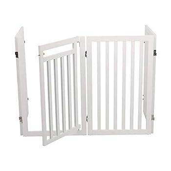 Trixie Barrière avec Porte pour Chien Blanc 60-160 x 81 cm