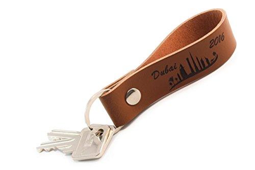 Schlüsselanhänger mit Wunschgravur aus echtem Leder - Schlüsselband mit Wunschtext (Braun)