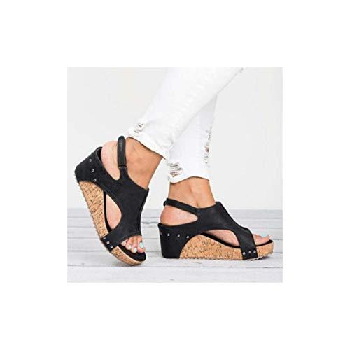Women Sandals Wedges Shoes Women High Heels Sandals with Platform Shoes Female Wedge Heels Peep Toe Women Summer Shoes Black 12