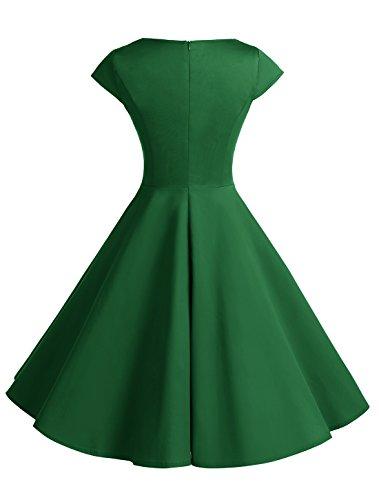 Wedtrend Damen 50er Hepburn Stil Vintage Cap Sleeves Dot Einfarbig Rockabilly Kleid Swing Kleider Armee Grün