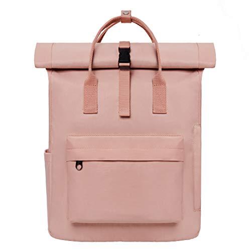 KALIDI Rucksack Damen Rucksack Herren Tagesrucksack mit Laptopfach, Unisex Modern Rolltop Rucksack Daypack, Wasserdichter Schulrucksack,Lässiger Backpack Schule Freizeit Uni Arbeit (rosa) - Rosa Laptop-rucksäcke