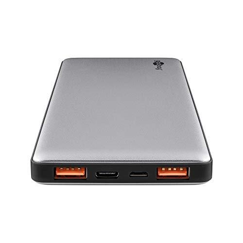 Goobay 59821 Powerbank 10000mAh mit Quickcharge QC 3.0 externer Akku 2x USB plus USB-C slim Design im Aluminium Gehäuse