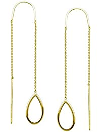 14ct Yellow Gold Stationary Open Tear Drop Threader Earrings