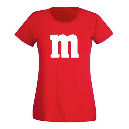 Tanzgruppe Kostüm - T-Shirt M&M Schoko-Linse Gruppenkostüm Karneval Fasching 15 Farben Damen XS-3XL M's Fans Ms Krümelmonster Darts Tanzgruppe Mottoparty, Größenauswahl:XS, Farbe:rot - Logo Weiss