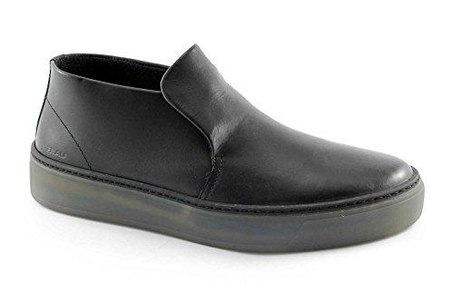 FRAU 20T9 chaussures noires homme baskets milieu des bottes de randonnée peau de confort