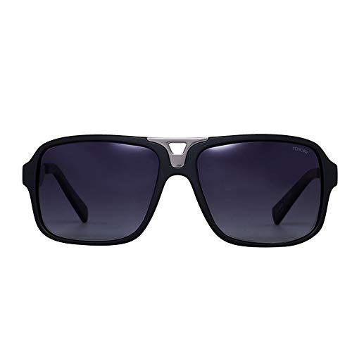 Unisex Retro Square Casual Sonnenbrillen, UV400 Verspiegelte Gläser Sonnenbrillen Brille (Farbe : Grey/matt Black)