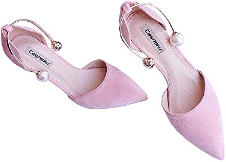 Chaussures 10cm 8cm, 10cm Chaussures Rose Europe et États-Unis Été Perle Pied Anneau Boucle Talons Hauts, Sexy Wild Pointu Fine...B07KBBYQ6VParent 813905