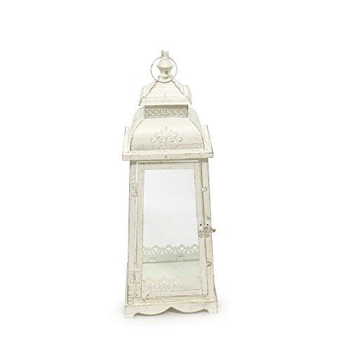 Laterne LUGANO creme weiß antik aus Metall Ornament verziert - MITTEL