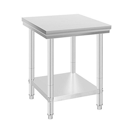 Anhon Gaststätte-Grad 2 x 2 FT-Edelstahl-Arbeits-Tabelle 24 x 24 Zoll für Handelsküchen-Vorbereitungs-Arbeits-Tabelle mit niedrigerer Regal-Arbeits-silbriger Tabelle