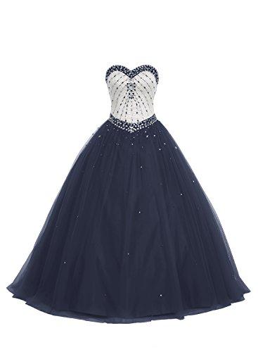Bbonlinedress Herzformig Zeremonie Formell Ball Bodenlang Prom Kleid Marineblau