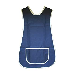 Ladies Home or Work Tabard Apron PolyCotton Mix with Single Large Pocket , side fastening button tabs, Navy Blue with White Trimmed edges. WX Approx 40-42 inches