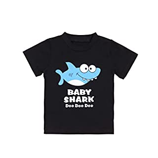 Newborn Baby Shark Song Doo Doo Doo Cute Short Sleeve Clothes for Boy Girl Infant Kids T-Shirt(18-24 M) Black