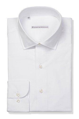 Camicia uomo classica, 100% cotone, made in italy (39 m it uomo, bianco unito)