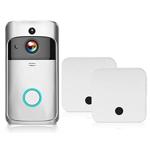 Video Timbre 1080 P Video Door Phone Wifi Smart Wireless Security Timbre Inteligente De La Grabación De Intercomunicador Visual Remoto Visión Nocturna De Monitoreo Doméstico Enchufes de la UE Plata