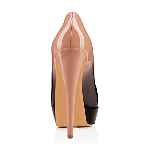 Damen Open Toe Plateau Stiletto High Heel Pumps Schluepfen Party Schuhe Schwarzbeige