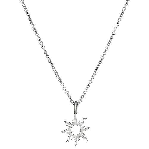 Qinlee Damen Halskette Sonne Form Klein Anhänger Klavikulärkette Mode Mädchen Xmas Geschenk Party Schmuck