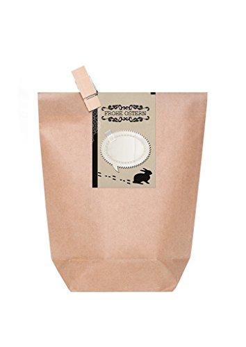 '10 Marron geschenktüten de Pâques au look vintage - Papier sacs avec autocollant\