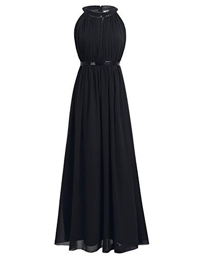 iEFiEL Damen Kleider Elegant festlich Hochzeit Sommer Kleider Lang Chiffon Abendkleid Party Kleid Cocktailkleid Gr. 36-46 Schwarz 38 (Herstellergröße: 6)
