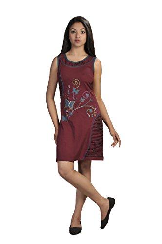 Robe sans manches Summer Womens coloré avec broderie de papillon Multicolore