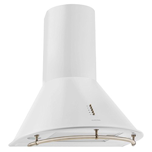 Klarstein lumio neo cappa aspirante retró da cucina a parete in acciaio (60 cm, capacità di aspirazione pari a 610m³/h, illuminazione alogena attivabile, tre velocità di ventilazione) - bianca