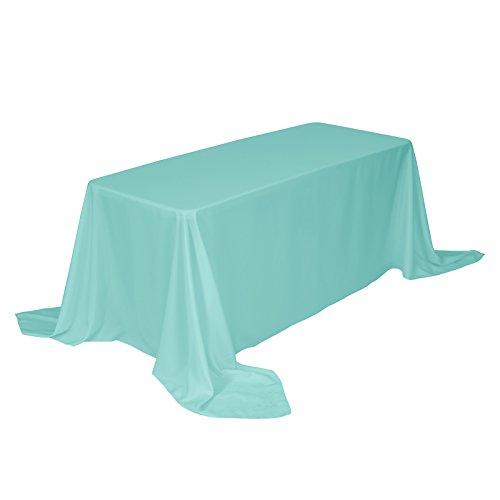 Veeyoo tovaglia rettangolare 100% poliestere tovaglia oblunga per la doccia nuziale morbido tovaglia ovale per la festa di matrimonio ristorante e tavolo da buffet (turchese, 229x335 cm)