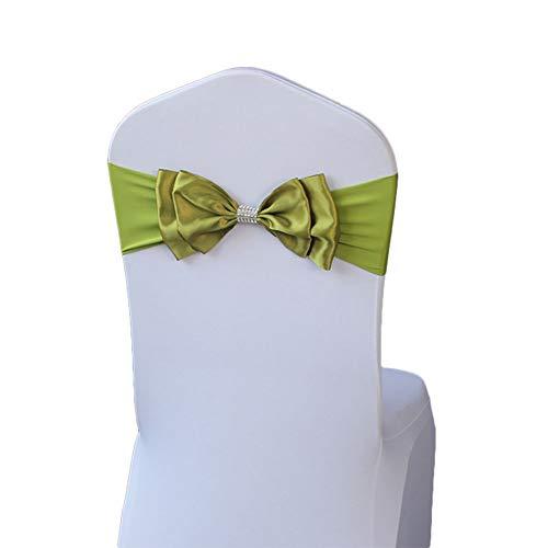 Qinlee Satin Stuhl Schärpe Band Stuhlhusse Schleife Hochzeit Jahrestag Party Dekoration Stuhl Band Hochzeit Elastische Stuhlhussen mit Satinschleifen für Hochzeiten Partys-Armee-Grün (Arm Stuhlhussen)