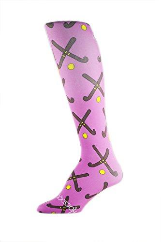 Hocsocx Schienbeinschoner Rash Under-Socken, für Hockey/Fußball Medium Purple Field Hockey Sticks