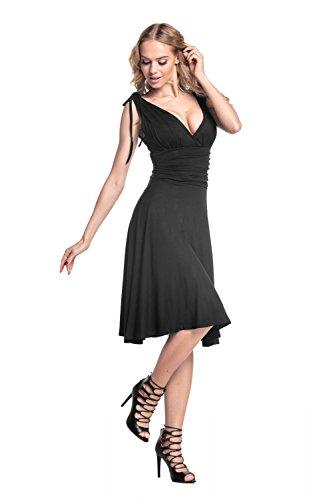 Glamour Empire. Donna. Vestito estivo in jersey con spalline annodate. 142 Nero