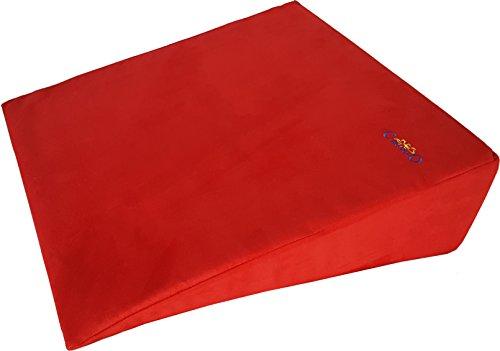 cuscinolo Kissen Antireflusso groß, Schiefe, Keilkissen, Keil-Bett, Unterstützung für die Rücken, Rückfließen Magen, Schlafapnoe, Schwangerschaft rot -