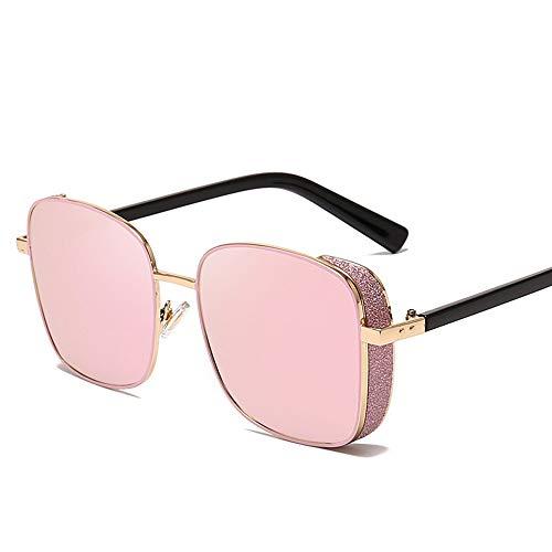 Yangj Sonnenbrillen-Sonnenbrillen aus Metall mit quadratischen Rahmen und Glitzer-Gläsern,pink