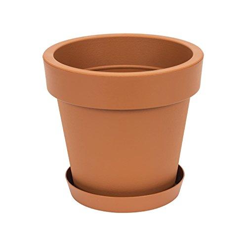 Pot de fleur avec soucoupe en plastique Lofly, classique, 30 cm diam, marron
