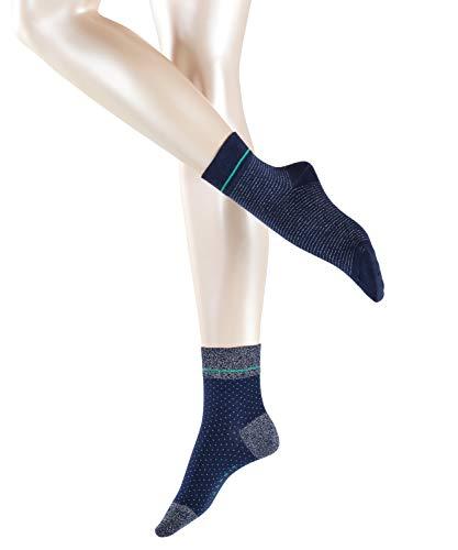 ESPRIT Damen Socken Nice Stripe & Dot 2-Pack, Baumwollmischung, 2 Paar, Blau (Marine 6120), Größe: 39-42